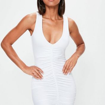 Missguided - White Sleeveless Ruched Front Bodycon Dress