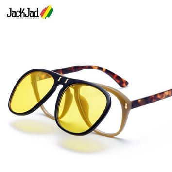 JackJad 2018 New Fashion McQregor Aviation Style Flip Up Sunglasses Unisex Vintage Brand Design Sun Glasses Oculos De Sol 33109