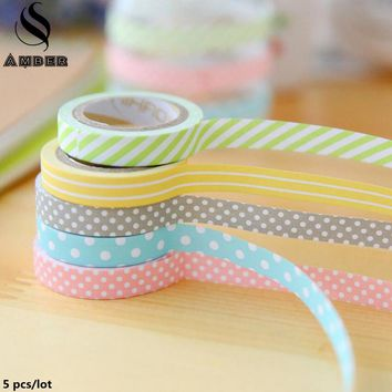 5 pcs/lot Cute Kawaii Candy Color Washi Tape Lovely Dot Stripe Decorative Tape For Photo Album Diy Adesiva Masking Tapes Set 2JD