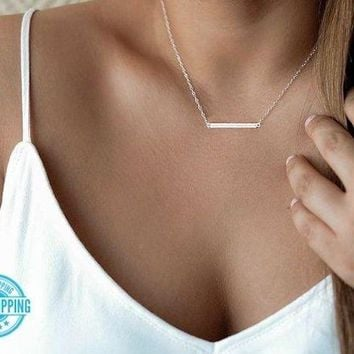 "Simple Minimalist Dainty Silver Gold 16"" 18"" Horizontal Bar Pendant Necklace USA"
