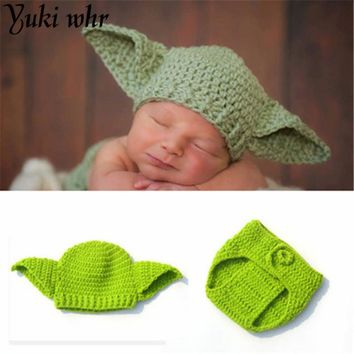 2017 HOT HOT Star Wars Baby Yoda Outfits Crochet Baby Cartoon Costume Knitted Newborn Photography Props Yoda Hat