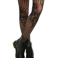LOVEsick Black Floral Fishnet Tights