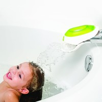 Boon Flo Water Deflector and Protective Faucet Cover with Bubble Bath Dispenser,Green