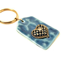 Blue Ceramic Key Ring with Heart  - Birthday Gift, New Car, New House, Housewarming, First Car