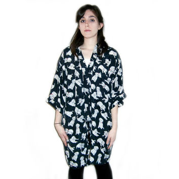 Vintage 80s SILK Dalmatian Puppy Dog Printed ROBE Shirt Top Oversized Button Up Black And White Small Medium Cruella Deville