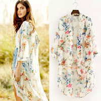 Women's White Colorful Floral Chiffon Kimono Cardigan Beach Coverup