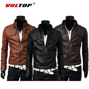 Trendy VOLTOP Motorcycle Jackets PU Leather Vintage Coat Casual Stand Collar Biker Knight Mens Jackets High Quality Slim Warm Clothes AT_94_13