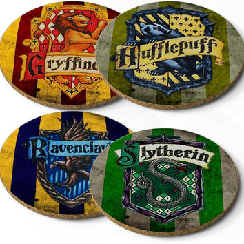 Set 4 Cork Coasters Harry Potter Hogwarts House Crests
