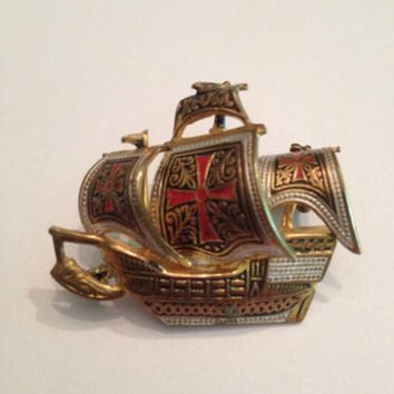 Vinatge Spanish Damascene Toledo Ship Boat Brooch Pin Jewelry
