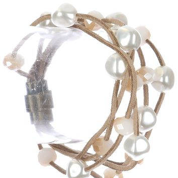 Ivory Pearl Iridescent Bead Multi Strand Faux Suede Bracelet