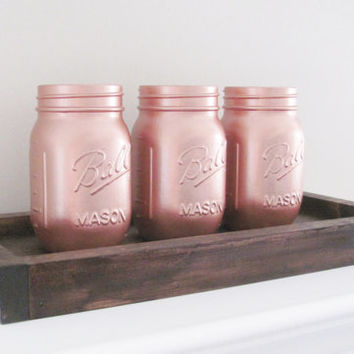 Party Centerpiece, Rose Gold Painted Jars, Mason Jars, Party Decor, Shabby Chic, Set of 3 Jars, Rustic Decor, Country Decor, Baby Shower