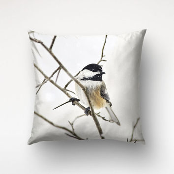 Winter Bird Art Pillow, Nature Photography, White Cover, Brown Decor, Bird Photography