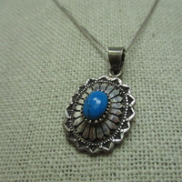"Sterling Silver Southwestern Turquoise Concho  Necklace, 18"", 5.25 grams, signed Italy and J.C."