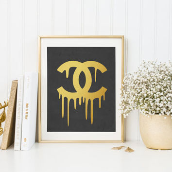 Chanel print, Printable chanel logo, Black chanel print, Coco Chanel, Fashion decor Gold Foil Black and Gold Coco Chanel Black and Gold Art