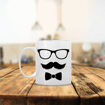 Funny Mr. Bow Glasses Mustache Ceramic Coffee Mug - Dishwasher Safe - Cute Coffee Mug- Funny Coffee Mug - Custom - Personalized Morning Mug