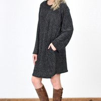 Oversized Terry Sweater Dress {Charcoal}