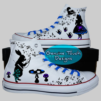 Custom Converse, Alice in wonderland, Alice fanart shoes, Custom chucks, painted shoes, personalized converse hi tops