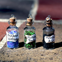 Teen Wolf Mountain Ash, Mistletoe, and Wolfsbane Miniature Bottle Charms 40mm x 15mm