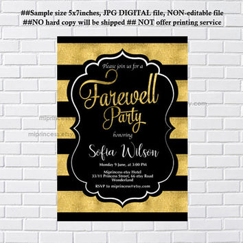 Retirement Invitations,  Retirement party Invitation,  Retirement Celebration, Farewell invitation, glitter elegant design- card 1213