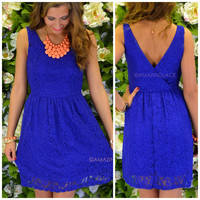 Crews Hill Royal Blue Lace Dress