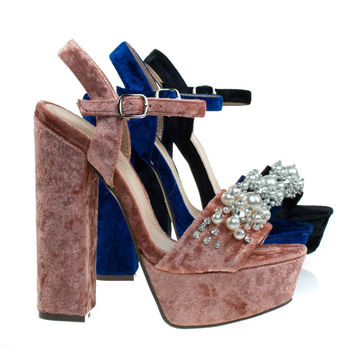 Davies1 Coral Velvet By Bamboo, Pearl On Chunky Block Heel Platform Sandal, Velvet Party Club Shoe