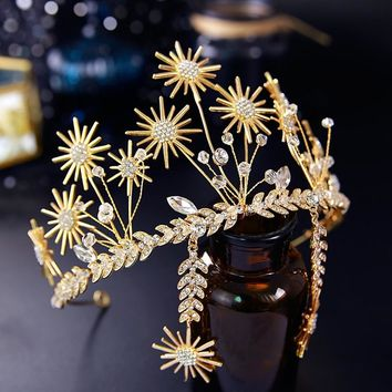 Gold Star Bridal Tiaras Crowns Sunflower Rhinestone Wedding Hair Accessories Cosplay