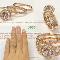 Round Morganite Engagement Ring Trio Sets Pave Diamond Wedding 14K Rose Gold 8mm Vintage Style