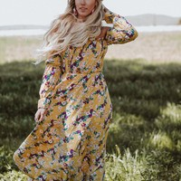 In The Moment Floral Maxi Dress - Mustard