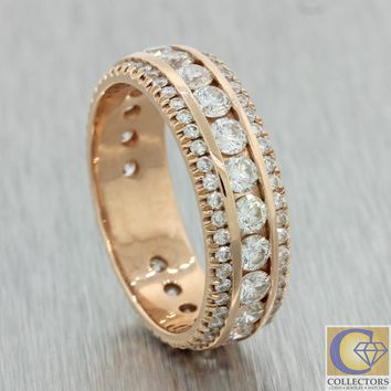 Men's Modern Estate Solid 14k Rose Gold 3.00ctw Diamond Wedding Band Ring