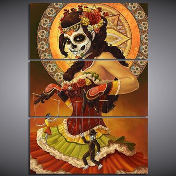 3 Panel Day Of The Dead Face Tableau Wall Art Canvas Cuadros Modern Picture Prin