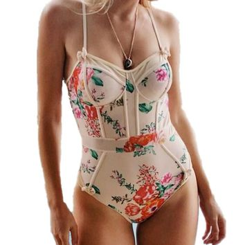 Summer sexy bikinis vintage push up high waist piece swimsuit women maillot de bain femme beachwear monokini swimwear biquini