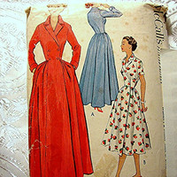 1950s Wrap Dress Pattern McCalls Misses size 16 Dress or Housecoat Pattern