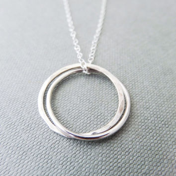 Sterling silver infinity ring necklace, double interlocked ring necklace, silver 925 pendant, hammered silver necklace, handmade silver