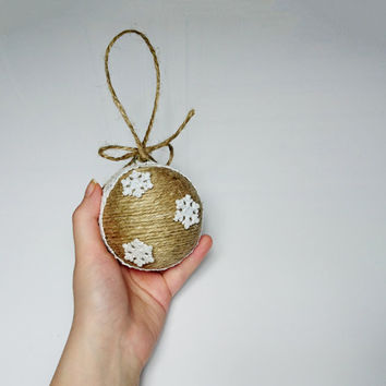 White brown Christmas tree ornament linen cord cotton lace glitter sparkling snowflakes rustic decor cozy cottage burlap holiday