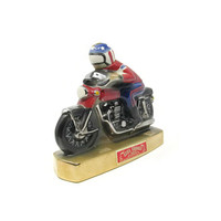 Vintage Ezra Brooks Motorcycle Decanter Heritage China Hand Decorated with Pure Platinum from 1971