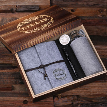 Personalized Felt Journal Water Bottle Pen and Wood Box – Light Grey