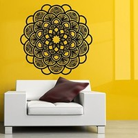 Wall Decals Lotus Vinyl Decal Mandala Sticker Home Interior Design Art Mural Indian Pattern Amulet Floral Design Sun Flower Bedroom Decor KT74