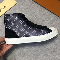 LV Louis Vuitton Trending Men Stylish Leather High Help Sport Shoes Sneakers Black