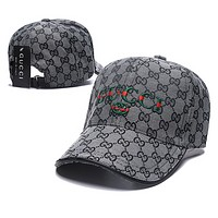 GUCCI Fashion New Embroidery Letter More Letter Women Men Travel Sunscreen Cap Hat Gray