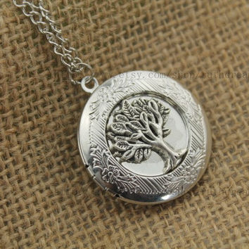 silver wish tree locket necklace Antique by ruthdreamy on Etsy