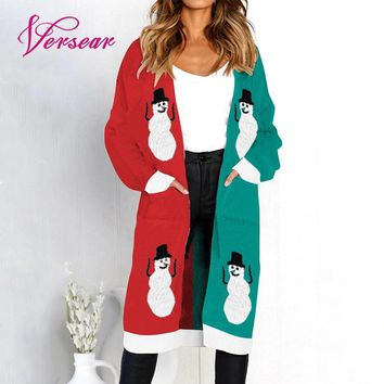 c114c1ced9 Versear 2018 Winter Long Women Knitted Cardigan Sweater Print Lo