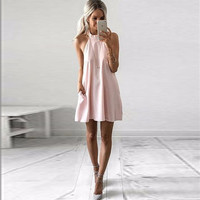 Solid Casual Pink Dress For Women