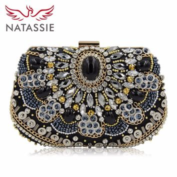 NATASSIE Women Beaded Clutches Wedding Bag Evening Bags With Stone Black Purse Elegant Ladies Day Clutches