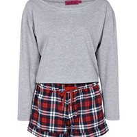 Rose Slouch Top and Flannel Check Short Set