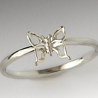 NEW DESIGN  - Cute  Silver Butterfly Ring