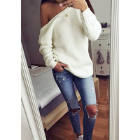Fashion Strapless Long Sleeve Knit Top Sweater Pullover Sweatshirt
