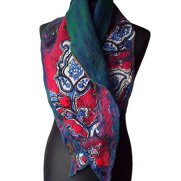 Nuno Felted Collar Nuno Felted Scarf Neck Warmer collar Hand Felted Shawl Art to wear Women's Gift Wool collar Felted Silk scarf OOAK