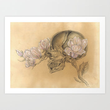 HUMAN NATURE Anatomy Series Number 1 - Skull & Magnolia Flowers Art Print by Casstronaut