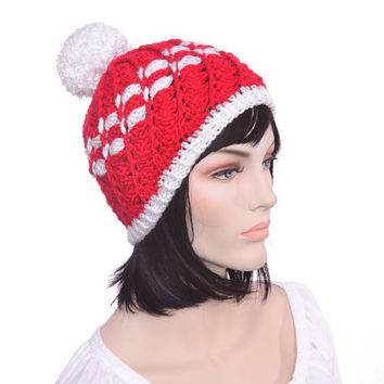 Red White Striped Beanie Hat Womens Hat with Pompom Hand Croc. 0b523740a018
