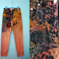 Vintage 80s 90s High Waist Jeans Bleached Black Peach Orange Multicolor Distressed Studded Skinny Pants / Size 24 25 US 0